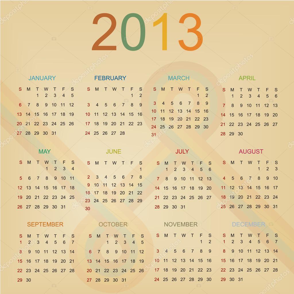 Retro Calendar Design : Retro design calendar for — stock vector erdem