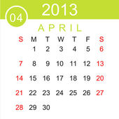 April 2013 Calendar Vector — Stockvektor