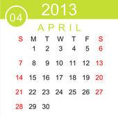 April 2013 Calendar Vector — Stock Vector