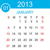 January 2013 Calendar Vector — Stock Vector