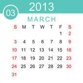 Marca 2013 kalendarz wektor — Wektor stockowy