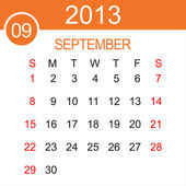 September 2013 Calendar Vector — Stock Vector
