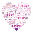 Love in word collage composed in heart shape — Stockvectorbeeld