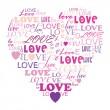 miłość w słowo kolaż składający się w kształcie serca — Wektor stockowy