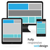 Fully responsive web design in electronic devices — Stock Vector