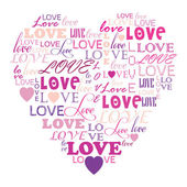 Love in word collage composed in heart shape — Stock Vector