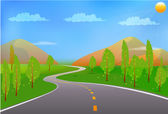Verde paisaje con camino, sol, los árboles y las nubes — Vector de stock