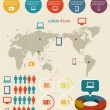 Detail infographic vector illustration. World Map and Information Graphics — Image vectorielle