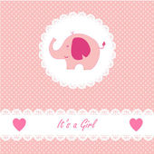Its a girl baby with little baby elephant — Stock Vector