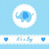 Its a boy baby with little baby elephant — Stock Vector