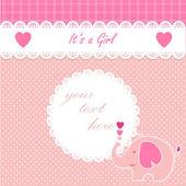 Cute girl baby elephant announcement card. — Stock Vector