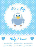 Its a boy baby with cute owl. Baby shower design. vector illustration — Vector de stock