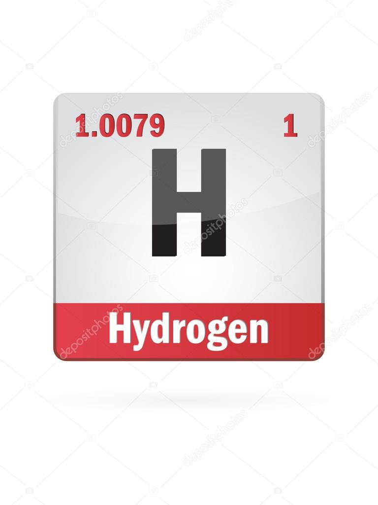 Hydrogen Symbol Illustration Icon On White Background ...