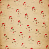 Christmas old paper seamless snowman background. christmas concept — Stock Photo