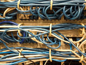 Network connection cables in datacenter — Stock Photo