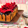 Stok fotoğraf: Cake loaf with rose petals