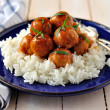 Apple Cider Glazed Chicken Meatballs - Stockfoto