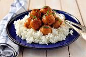 Apple Cider Glazed Chicken Meatballs — Stock Photo