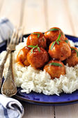 Apple Cider Glazed Chicken Meatballs — Stock Photo