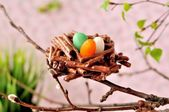 Easter Chocolate Pretzel Nests — Stock Photo