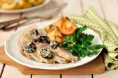 Creamy Prune and Pork Pot Roast with Apples — Stock Photo