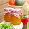 Two Jars of Pumpkin Jam on Bench, copy space for your text — Stock Photo #33575137