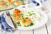 Chicken Patties Baked with Sour Cream Sauce, Served with Rice — Stock Photo