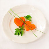 Romantic Low Calorie Dinner, Carrot Hearts — Stock Photo