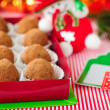 Christmas Chocolate Truffles in a Gift Box — Stock Photo