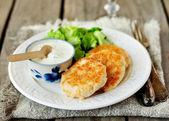 Turkey Patties with Yogurt, Sour Cream and Mustard Sauce — Stock Photo