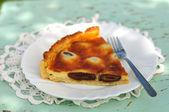A piece of Italian date and mascarpone tart — Stock Photo