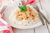 Creamy Tomato Chicken on Rice — Stock Photo