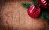 Cristmas Card with Copy Space for Your Text, Christmas Decorations over Old Wood Background, Vintage Effect — Foto Stock