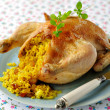 Whole Roast Chicken Stuffed with Curried Rice and Sultanas, selective focus — Stock Photo