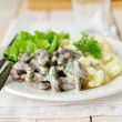 Liver Srtoganoff with Salad Leaves and Mashed Potatoes — Stock Photo #34800259
