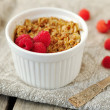 Individual raspberry banana crumble — Stock Photo