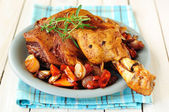Pork Shank Roasted with Vegetables, selective focus — Stock Photo