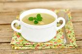 Zucchini Cream Soup with Bortolini Beans — Stock Photo