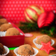 Christmas Chocolate Truffles in a Gift Box, Christmas Decorations, vintage effect, copy space for your text — Stock Photo #34953577