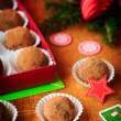 Christmas Chocolate Truffles in a Gift Box, Christmas Decorations, vintage effect — Stock Photo