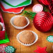 Christmas Chocolate Truffles in a Gift Box, Christmas Decoration — Stock Photo
