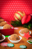 Christmas Chocolate Truffles in a Gift Box, Christmas Decorations, vintage effect, copy space for your text — Stock Photo