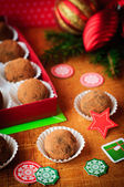 Christmas Chocolate Truffles in a Gift Box, Christmas Decorations, vintage effect — Stockfoto