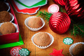 Christmas Chocolate Truffles in a Gift Box, Christmas Decoration — Stockfoto