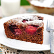 A Piece of Chocolate Plum Cake — Stock Photo
