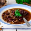 Wild Mushroom and Kidney Bean Soup — Stock Photo