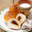 Bread Rolls Filled with Pumpkin and Feta with a Cup of Milk — Stock Photo