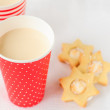 Baked Milk (Russian and Ukrainian Cuisine) and Cookies — Stock Photo