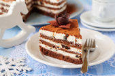 Chocolate, Quark and Prune Layer Cake — Stock Photo