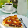 Stock Photo: Piece of Italidate and mascarpone tart